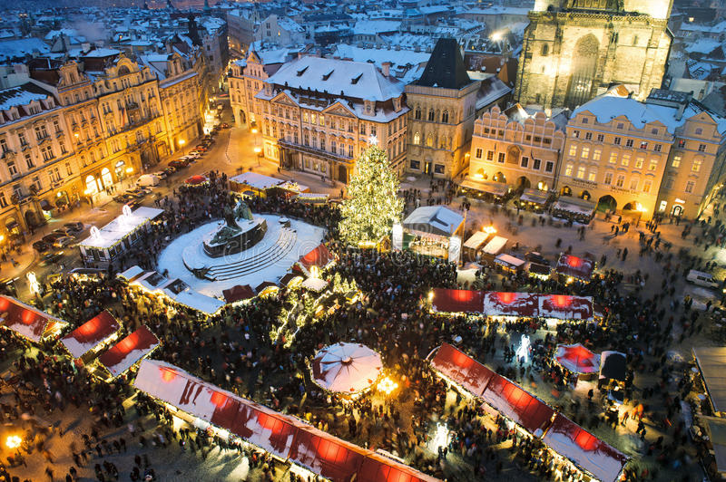 Trade fair in Prague. Christmas. Trade fair in old town in Prague. Christmas stock image