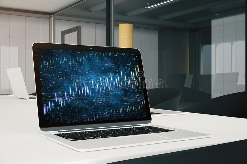 Trade and finance concept. Close up of modern office workplace with laptop and forex chart. Trade and finance concept. 3D Rendering stock illustration