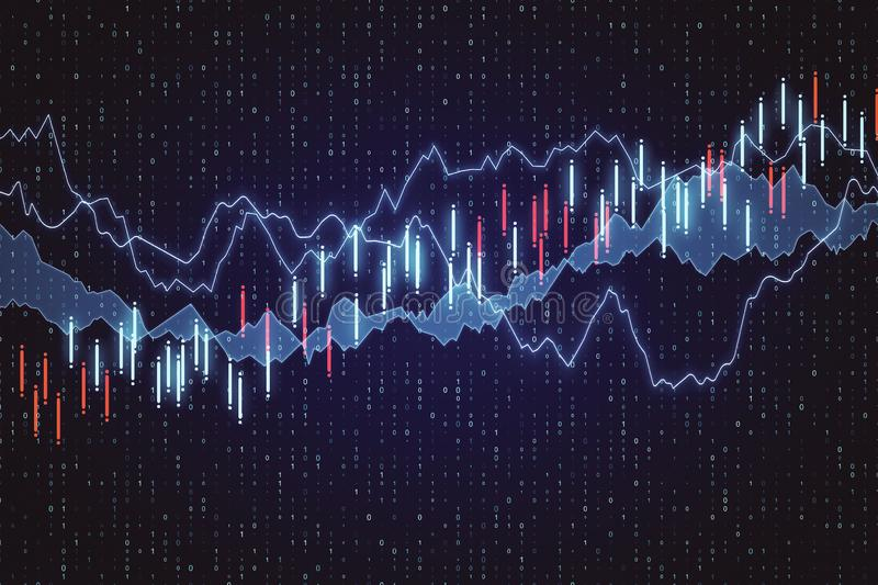 Trade and finance concept. Creative forex chart background. 3D Rendering stock illustration