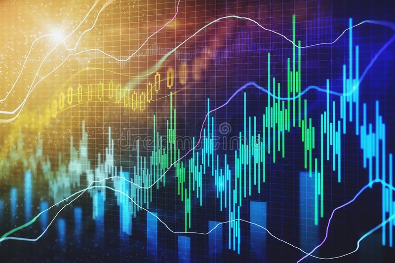 Trade and finance texture. Creative forex chart texture with candlestick. Trade and finance concept. 3D Rendering royalty free illustration