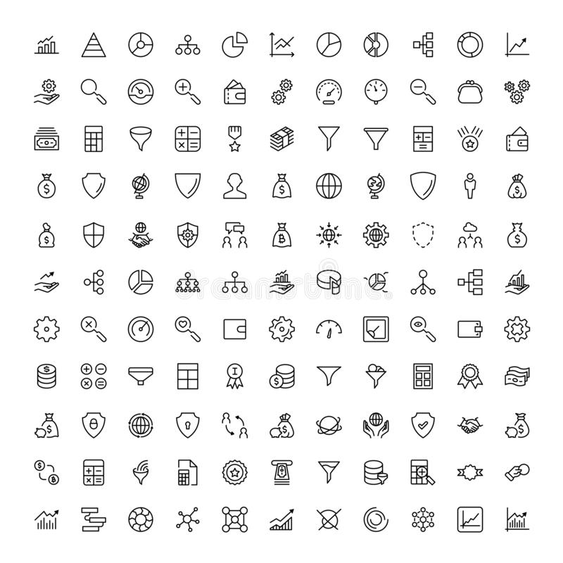 Trade flat icon. Set. Single high quality outline symbol of info for web design or mobile app. Thin line signs for design logo, visit card, etc. Outline logo of royalty free illustration