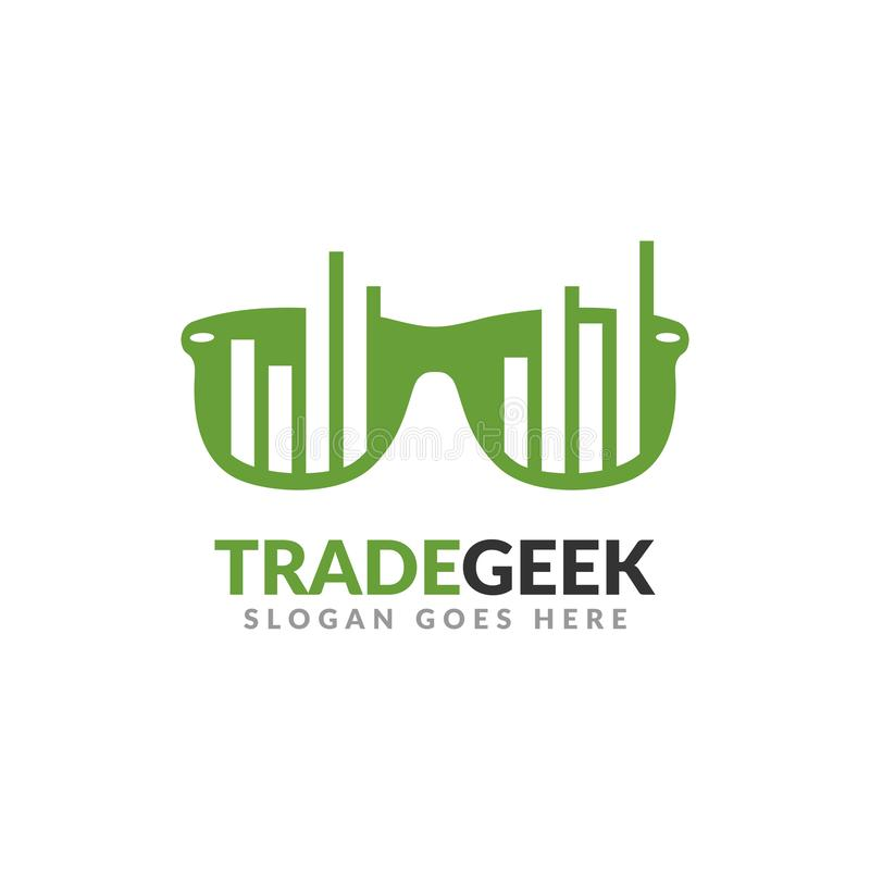 Trade geek logo design template. a glasses with bar chart on it, perfect for trading business.  royalty free illustration