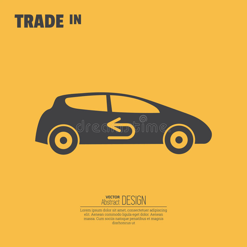 Trade in icon. Concept of an exchange of the car with surcharge royalty free illustration