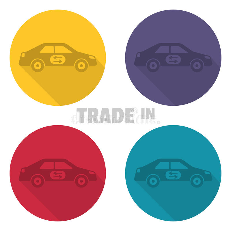Trade in icons. Concept of an exchange of the car with surcharge stock illustration