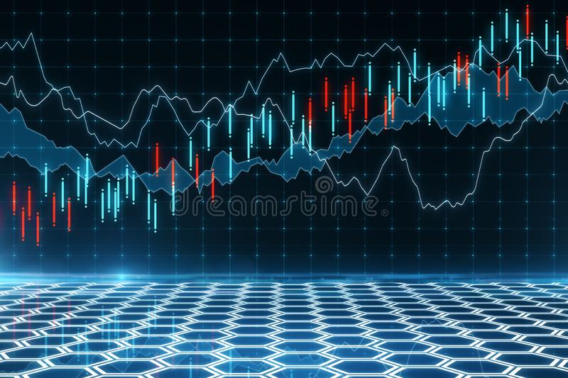 Trade and invest concept. Creative forex chart background. Trade and invest concept. 3D Rendering stock illustration
