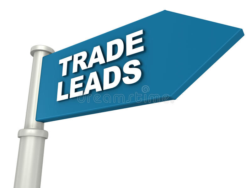 Trade leads. On a blue banner, white background. business leads concept vector illustration