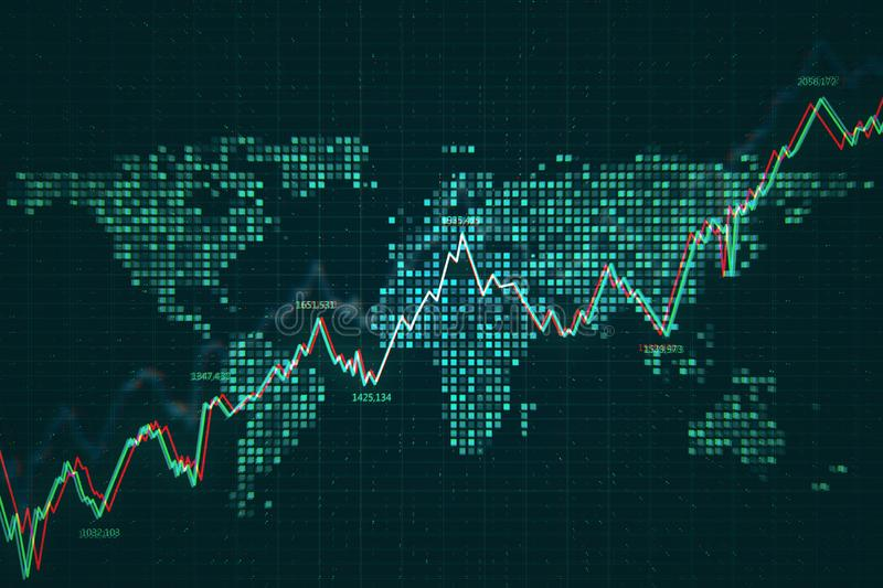 Trade and market concept. Creative forex chart background. 3D Rendering vector illustration