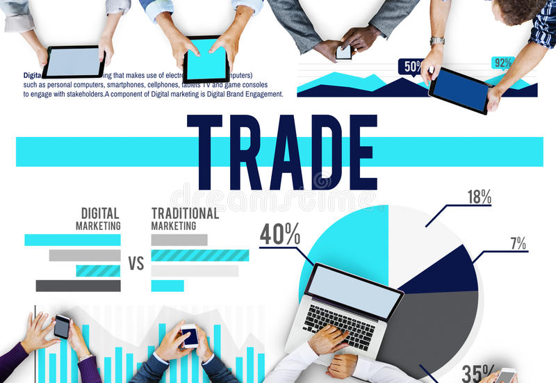 Trade Marketing Commerce Stock Market Sales Concept stock illustration