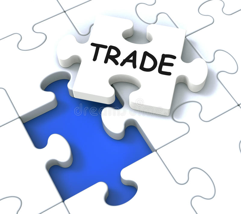 Trade Puzzle Shows Market And Commerce. Trade Puzzle Shows Market, Commerce And Delivering royalty free illustration