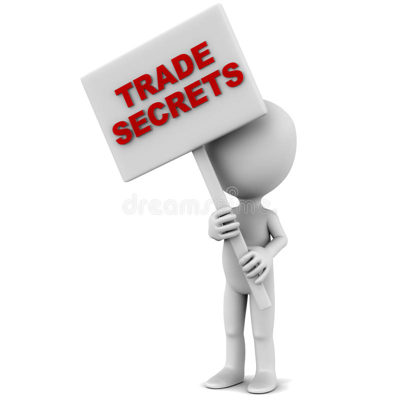 Trade secrets. Words on a banner, little 3d man holding it with both hands against a white background, red text stock illustration