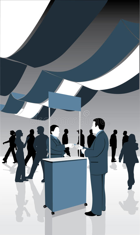 Trade show. Illustration of people attending a trade show stock illustration