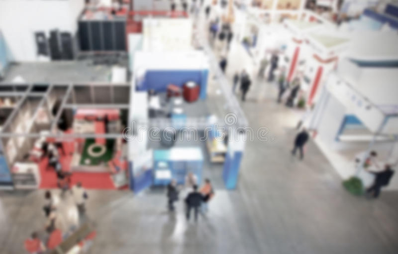 Trade show background with an intentional blur effect applied. Humans and location not recognizable royalty free stock photography