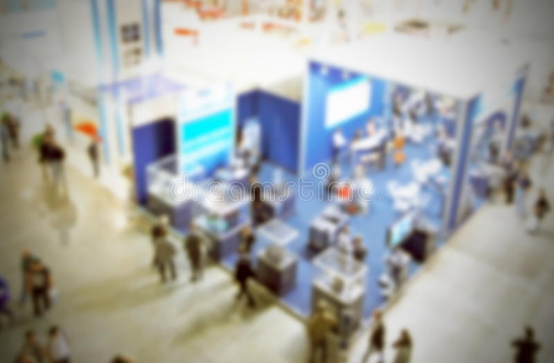 Trade show background. Intentionally blurred background, trade show panoramic view royalty free stock image
