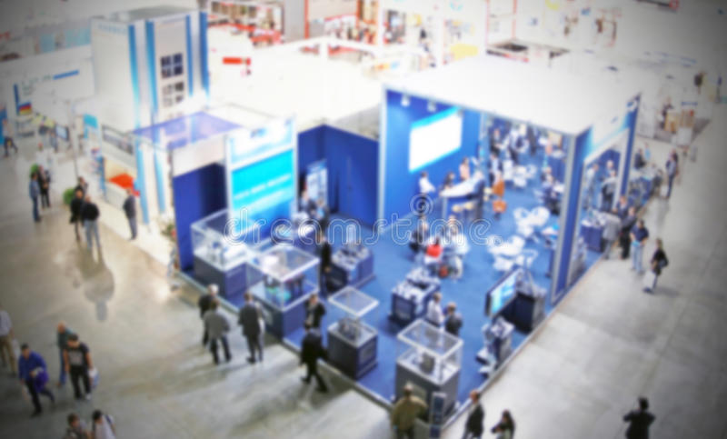 Trade show background. Intentionally blurred background, trade show panoramic view stock photography