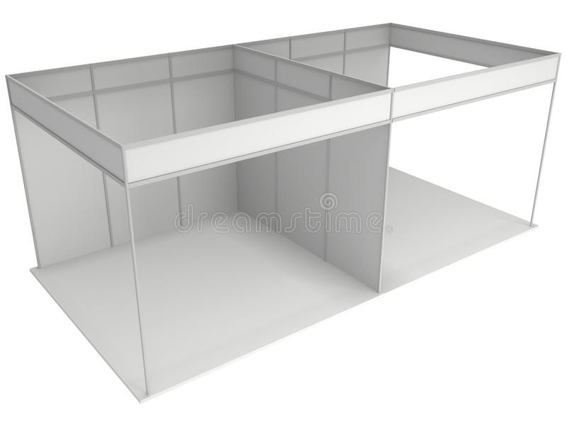 Trade Show Booth Box. 3D White and Blank. Trade Show Booth White and Blank. Blank Indoor Exhibition with Work Paths. 3d render isolated on white background stock illustration