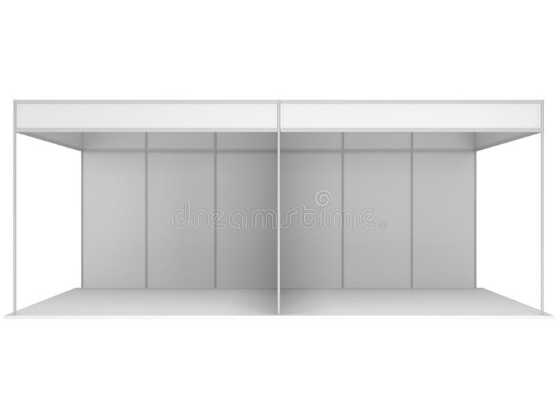 Trade Show Booth Box. 3D White and Blank. Trade Show Booth White and Blank. Blank Indoor Exhibition with Work Paths. 3d render isolated on white background royalty free illustration
