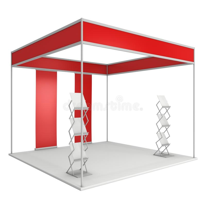 Trade Show Booth Box and Magazine Rack and Roll Up. Expo Trade Show Booth Red and Blank with Magazine Rack and Roll Up Stand. Blank Indoor Exhibition with Work vector illustration