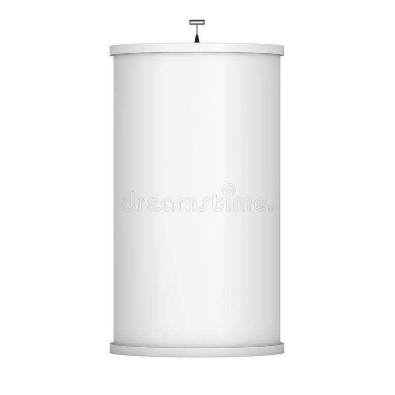 Trade show booth column. White and blank. 3d render isolated on white background. High Resolution Template for your design royalty free illustration