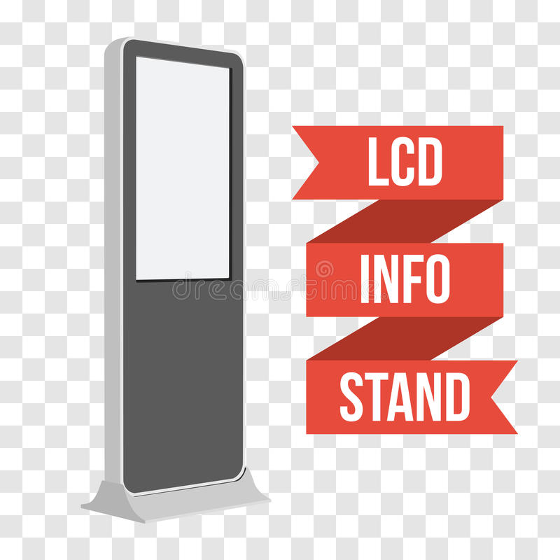 Trade show booth LCD TV Info stand. LCD TV Info Floor Stand. Blank Trade Show Booth. Vector illustration of kiosk machine on transparent background. Ad template royalty free illustration