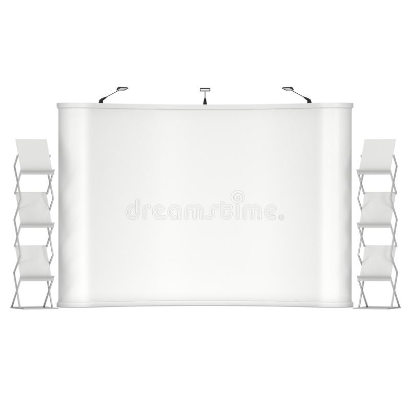 Trade show booth and magazine rack. Stand for magazines white and blank. 3d render isolated on white background. High Resolution. Ad template for your expo stock illustration