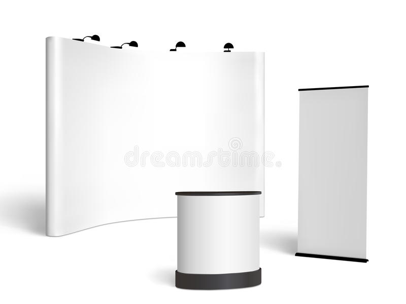 Exhibition Booth Vector : Trade show booth mock up vector on white stock