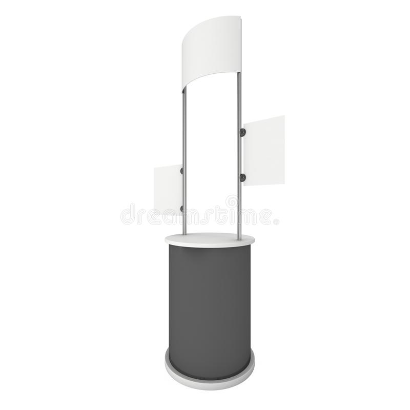 Trade Show Booth Stall. Stall or Kiosk Modern Promostand Reception Desk. Trade show booth white and blank. 3d render illustration isolated on white background vector illustration
