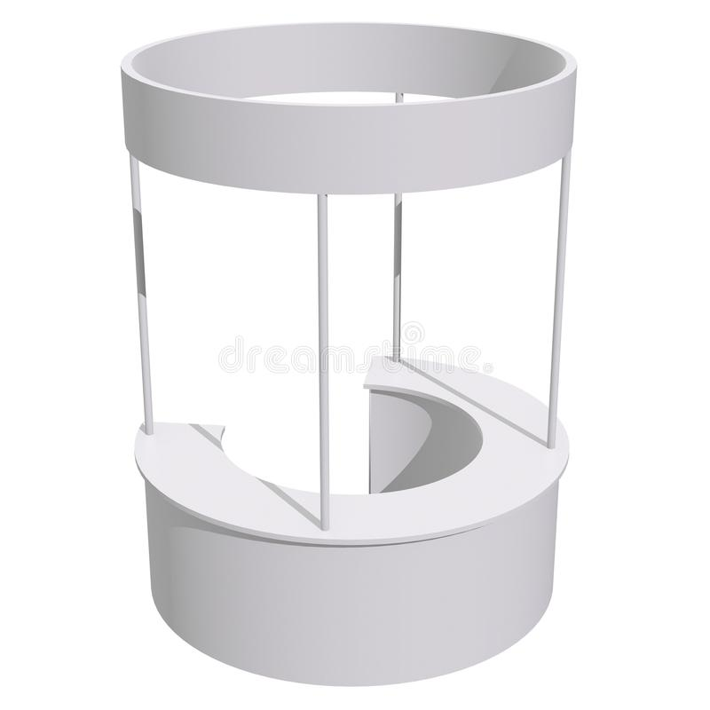 Trade Show Booth Stall. Stall or Kiosk Modern Reception Desk. Trade show booth white and blank. 3d render illustration isolated on white background. Template stock illustration