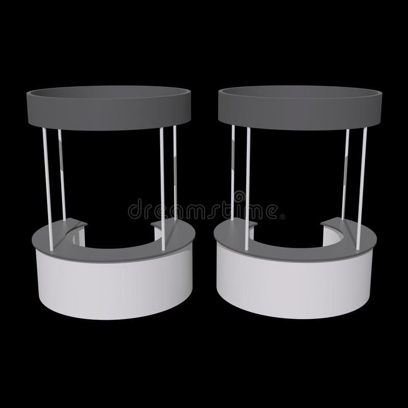 Trade Show Booth Stall. Stall or Kiosk Modern Reception Desk. Trade show booth white and blank. 3d render illustration on black background. Template mockup for vector illustration