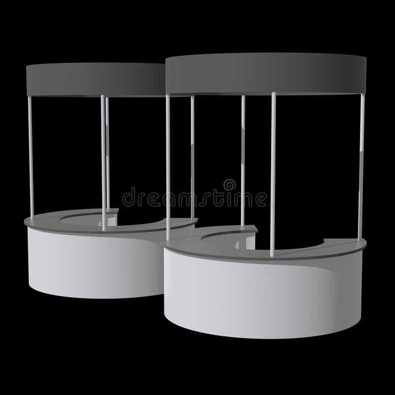 Trade Show Booth Stall. Stall or Kiosk Modern Reception Desk. Trade show booth white and blank. 3d render illustration on black background. Template mockup for stock illustration