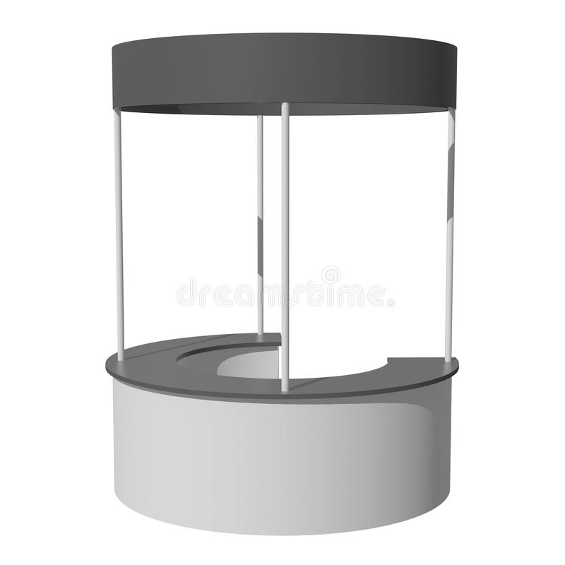 Trade Show Booth Stall. Stall or Kiosk Modern Reception Desk. Trade show booth white and blank. 3d render illustration isolated on white background. Template royalty free illustration