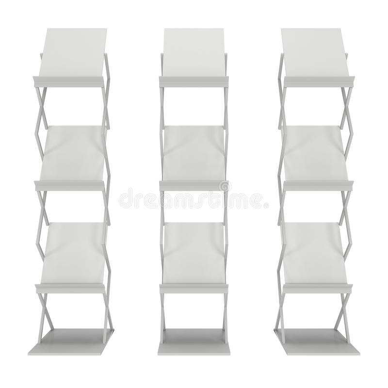 Trade show booth stand for magazines. White and blank. 3d render on white background. High Resolution. Ad template for your design stock illustration