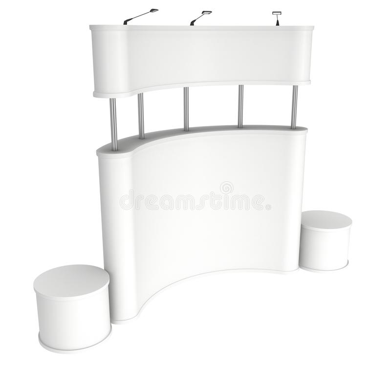 Trade show booth white and blank. 3d render isolated on white background. High Resolution Template for your design royalty free illustration