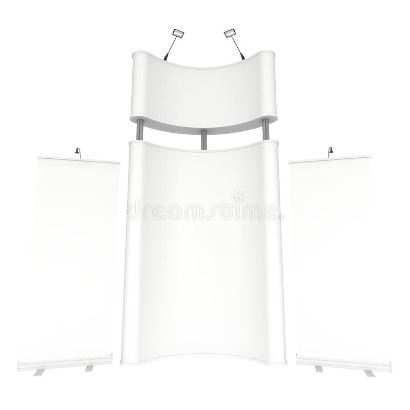 Trade show booth white and blank. 3d render isolated on white background. High Resolution Template for your design vector illustration