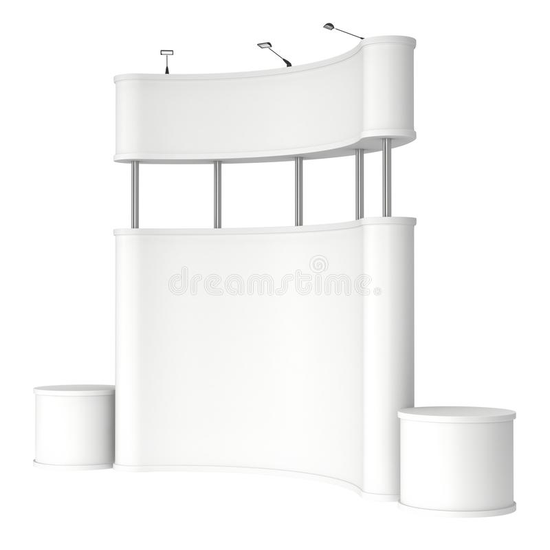 Trade show booth white and blank. 3d render isolated on white background. High Resolution Template for your design stock illustration
