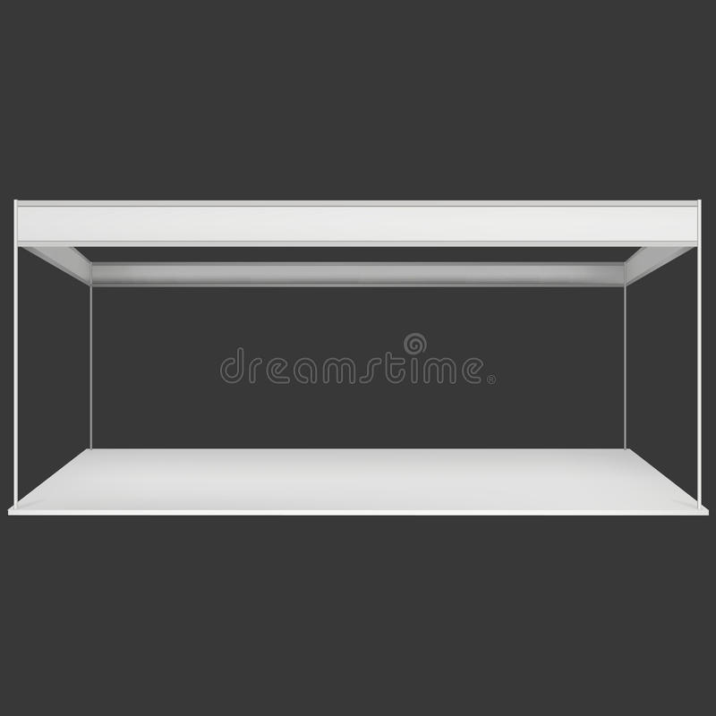 Trade Show Booth White and Blank. Blank Indoor Exhibition with Work Paths. Vector on black background. Ad Template for your Expo design royalty free illustration