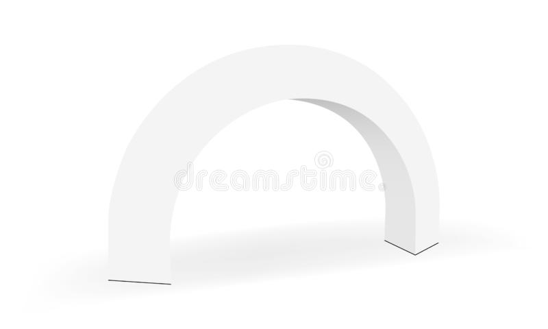 Trade show exhibition round arch banner isolated on white background vector illustration
