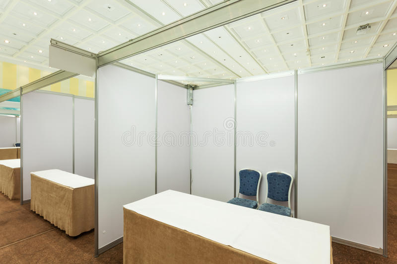 Trade show interior. With booth and tables royalty free stock images
