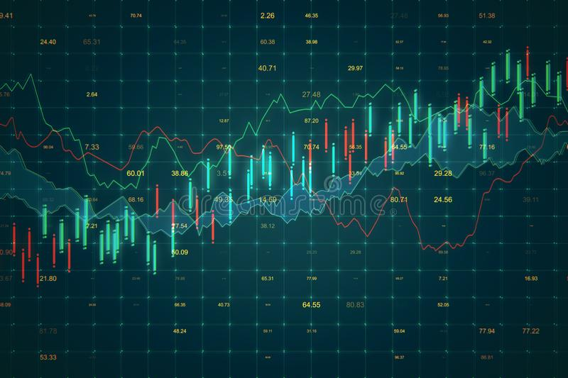 Trade and stats concept. Creative forex chart background. 3D Rendering royalty free illustration