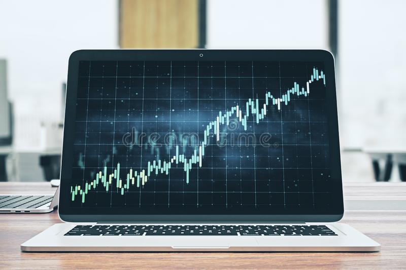 Trade and stats concept. Creative workplace with laptop and forex chart. Trade and stats concept. 3D Rendering stock illustration