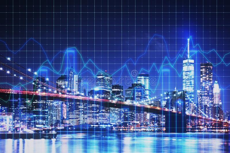 Trade and stock concept. Creative glowing blue night new york city background with grid forex chart. Trade and stock concept. Double exposure stock illustration