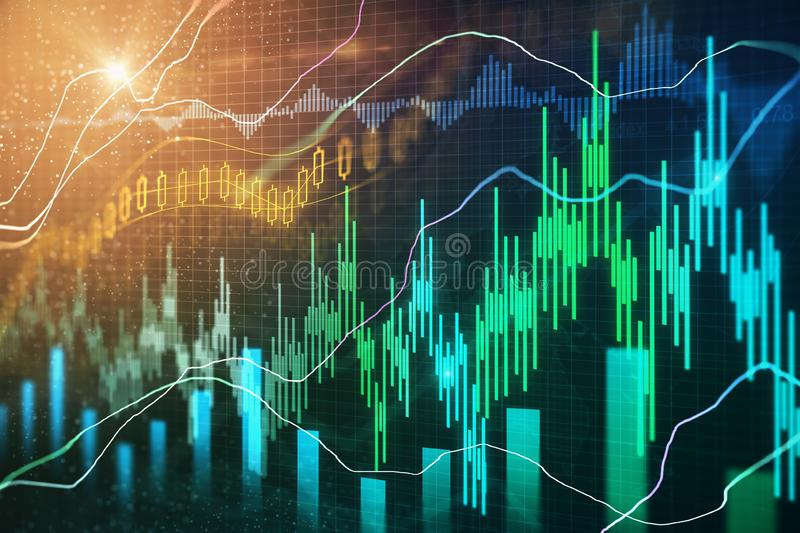 Trade and stock texture. Creative forex chart texture with candlestick. Trade and stock concept. 3D Rendering royalty free illustration