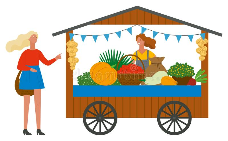 Trade Tent with Vegetables Customer and Vendor Vector vector illustration