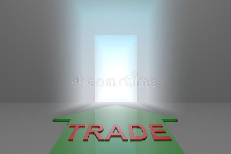 Trade to the open gate. Green arrow with trade word front of the open gate , 3d rendered royalty free illustration