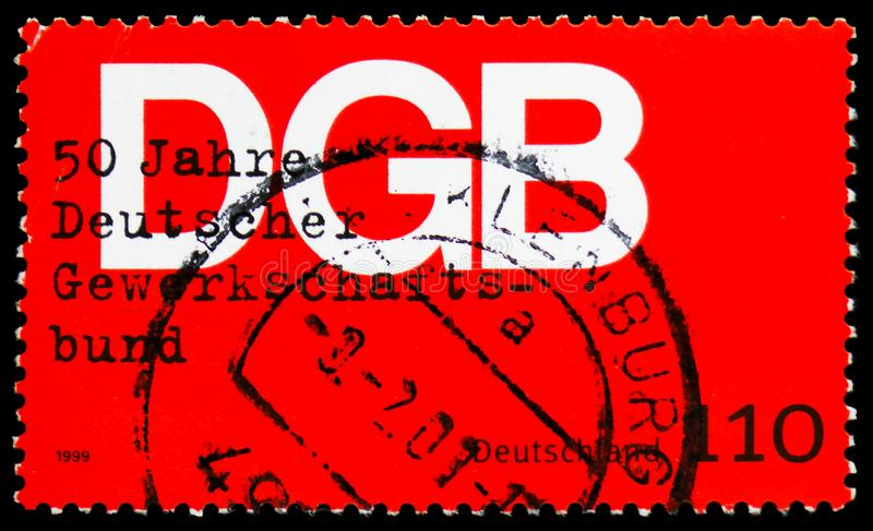 Trade Union, 50th Anniversary of Federation of German Trades Unions serie, circa 1999. MOSCOW, RUSSIA - MARCH 23, 2019: Postage stamp printed in Germany Federal stock photography