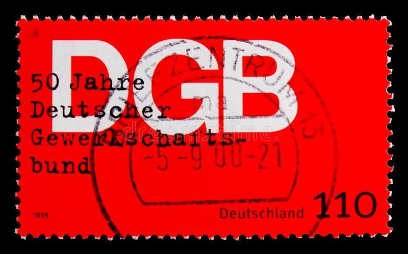 Trade Union, 50th Anniversary of Federation of German Trades Unions serie, circa 1999. MOSCOW, RUSSIA - OCTOBER 21, 2017: A stamp printed in Germany Federal royalty free stock photo