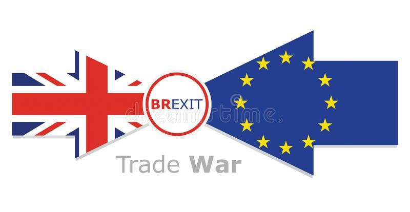 Trade war - Brexit, economic conflict betwen United Kingdom and European Union stock photography
