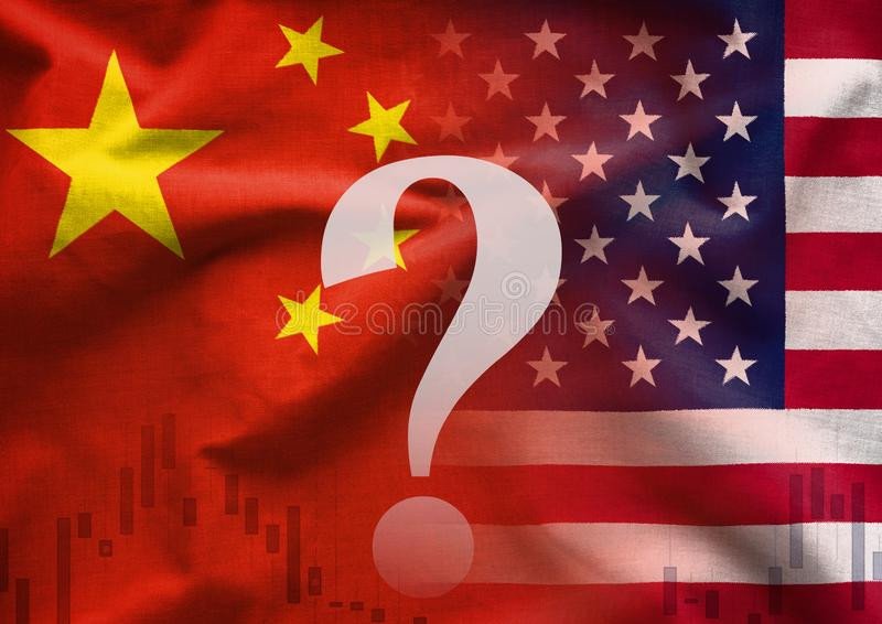 Trade War between China and America. Conceptual image with a question mark overlaid over the two national flags and a business chart royalty free illustration
