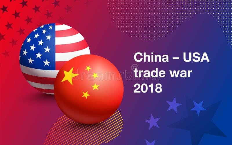 Trade war between China and USA. Flags of United States of America and China in the form of a ball. Concept of trade war between China and USA. Vector royalty free illustration
