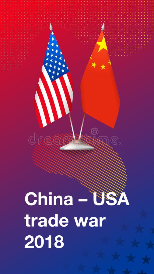 Trade war between China and USA stock illustration