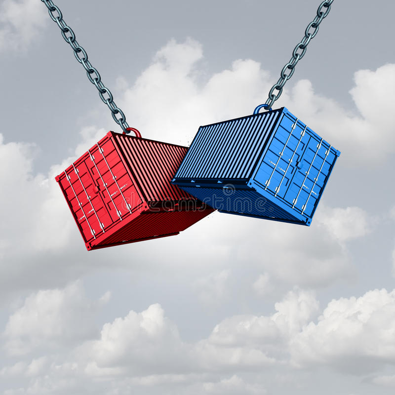 Trade War Concept. And economic conflict metaphor as two cargo freight shipping containers crashing into each other as a financial commerce symbol with 3D stock illustration